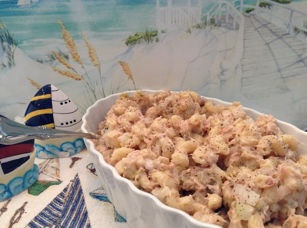 Refrigerate the pasta salad until very cool.  Before serving, stir again and add...
