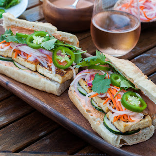 Vegetarian Banh Mi Sandwich With Sriracha Mayonnaise