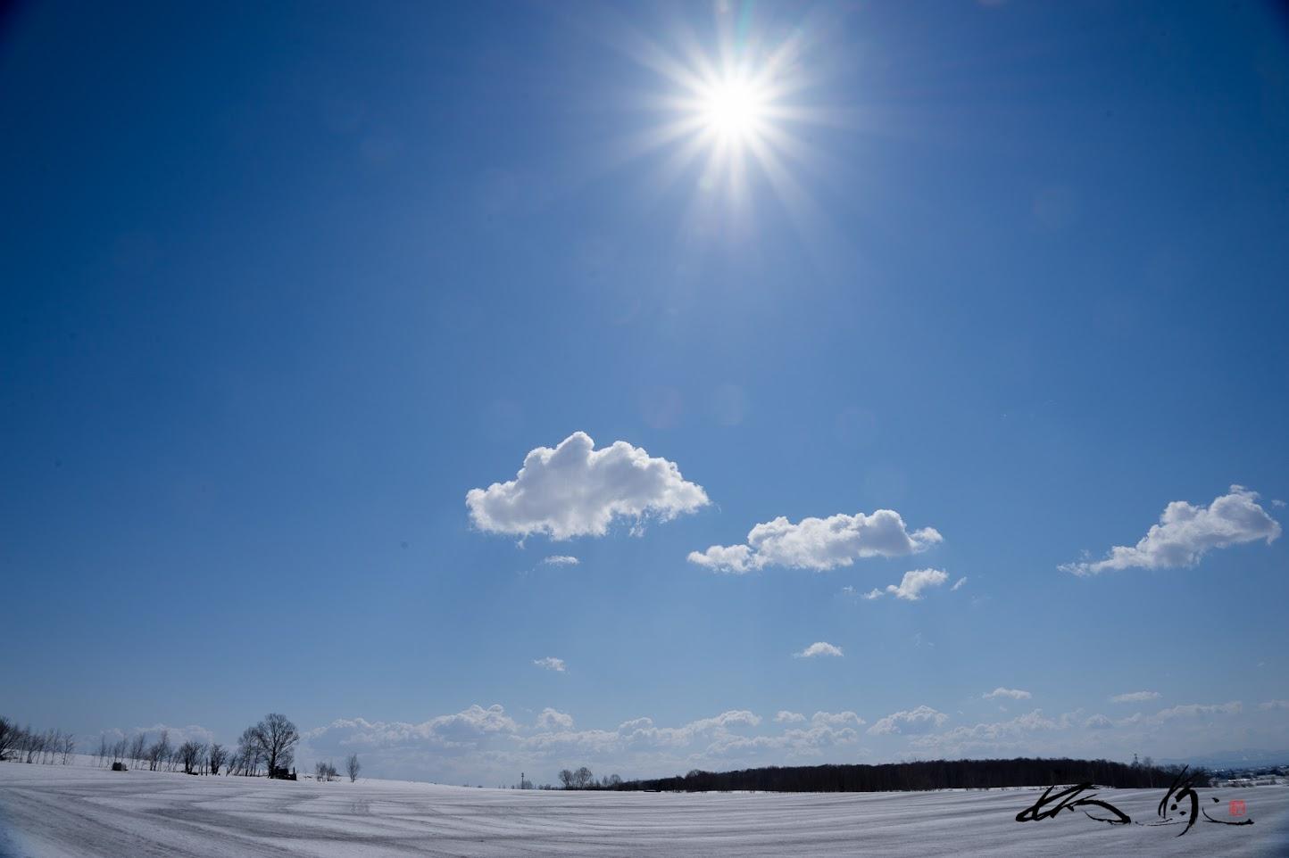 青い空にふんわり浮かぶ白い雲