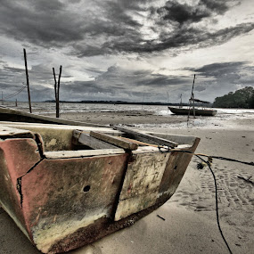 Boat at the beach by Kay Eimza - Transportation Boats