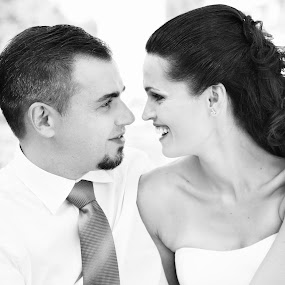 Love u <3 by Katja Zagar Photography - Wedding Bride & Groom ( love, woman, wedding, happiness, bride, smile, groom, portrait, man, black&white )