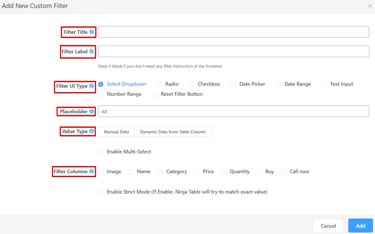 add filters to product tables and increase sales
