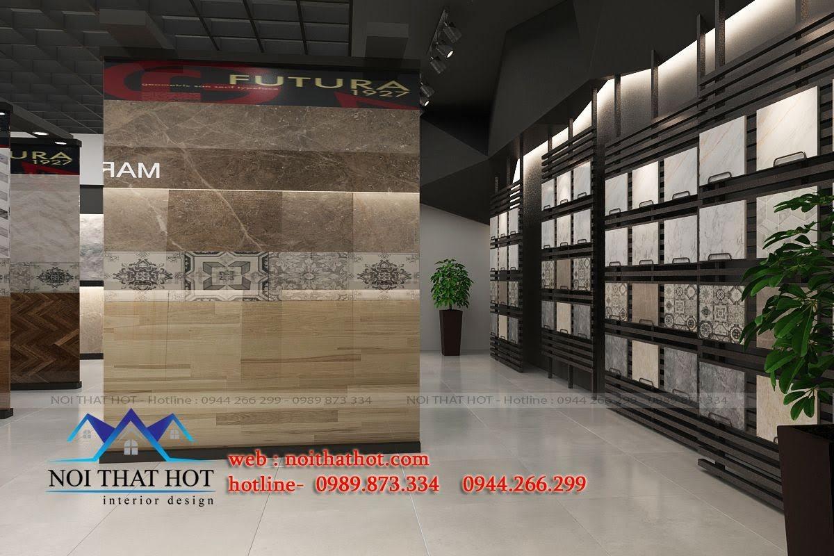 thiết kế cửa hàng vật liệu xây dựng cuốn hút