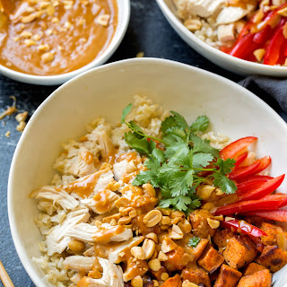 Chicken Veggie and Brown Rice Bowls with Peanut Sauce Recipe