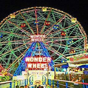 CONEY ISLAND'S WONDER WHEEL IN NEON by Kendall Eutemey - City,  Street & Park  Amusement Parks ( lights, rides, kendall eutemey, amusement park, colorful, vivid, night, coney island, ferris wheel,  )