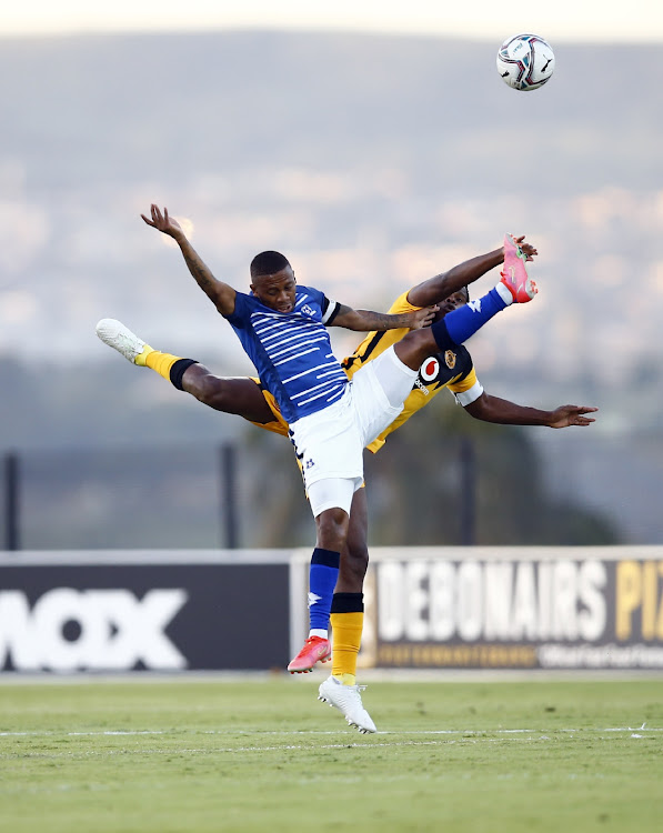 Thabiso Kutumela of Maritzburg Utd and Willard Katsande of Kaizer Chiefs during the DStv Premiership match between Maritzburg United and Kaizer Chiefs at Harry Gwala Stadium on March 10, 2021 in Pietermaritzburg, South Africa.