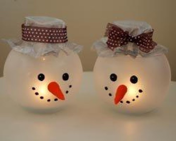 Frosted Snowman Candle Holders Recipe