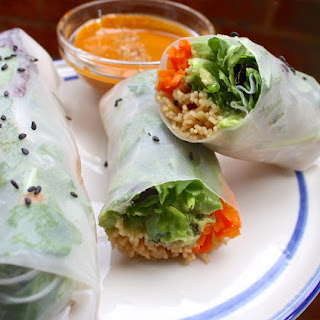 Summer Rolls With A Spicy Peanut Dipping Sauce