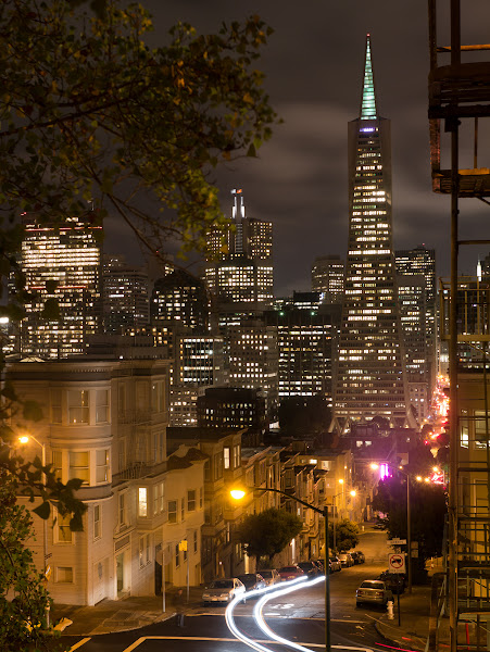 Photo: San Francisco nights  Thanks so much to +Thomas Hawkfor arranging such a lovely evening last night. Around 40 of us met up for a tasty dinner at Henry Hunan's, quickly worked-off by a steep hike up Montgomery Street for a classic view of the Transamerica Pyramid. Much long exposure photography ensued. Here's one I snapped with my Panasonic GX1 and Leica 25mm lens (50mm equivalent). It's a ten second exposure at f8 and the base 160 ISO of the camera.  It was hard enough to hike up there with my light Micro Four Thirds kit, so maximum respect goes to +Peter Adamswho lugged up a set of flashlights and batteries for an excellent group shot which you'll also see in various streams! I'm looking forward to seeing those jumping portraits Peter!  I was also flattered to have my portrait taken by +Daniel Kriegerwho'd just shot Annie Liebovitz the night before - looking forward to seeing that too!  It was fun evening and wonderful to catch up with old friends including +Karen Hutton, +Sam Breach, +Julia Peterson, +Faran Najafi, +Chris Chabot, +Swee Oh and to meet many new ones including +Barry Blanchard, +Ricardo Lagos, +Alexis Coram, +Bryan Nabong, +Suzanne Haggerty, +Guillaume Desachy, +Andrea Ewald, +Joette A. Wangsgard, +Bill Sanders, +Todd Sipesand everyone else! Sorry if I missed any of you, or if I didn't get a chance to chat much! Looking forward to seeing many of you again on Saturday and probably around town over the next couple of weeks!
