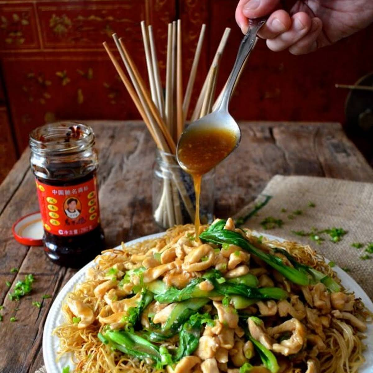 Chicken Pan-Fried Noodles (Gai See Chow Mein)