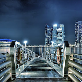 Still by Dee S. Alkhatib - Landscapes Waterscapes ( skyscrapers, reflections, landscape, singapore, colours, iphoneedit, lights, sky, metal, blue, stars, buildings, night, bridge, starry )