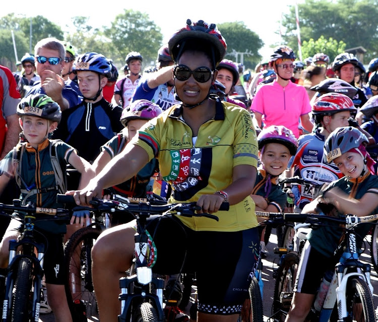 File photo of Polokwane Mayor Thembisile Nkadimeng at the Polokwane Annual Mayoral Cycle Race.