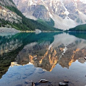 Reflections in Moraine Lake by Santford Overton - Landscapes Mountains & Hills ( mountains, nature, trees, reflections, lake, landscape, landscapes, rocks,  )