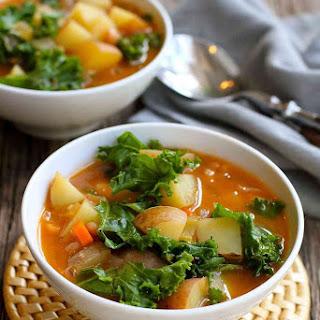 Vegan Potato Soup Recipe with Beans & Kale.