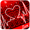 Live 3D Red Neon Heart Keyboard Theme