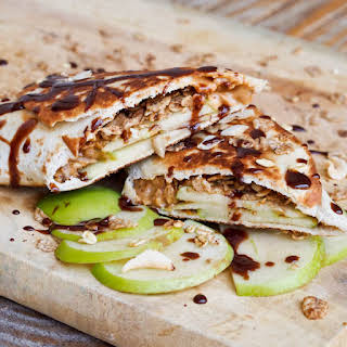 Peanut Butter, Apple and Granola Snack Wraps.