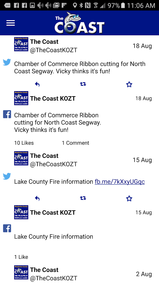The Coast 95.3/95.9 KOZT- screenshot