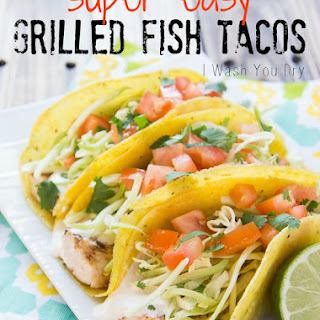 Super Easy Grilled Fish Tacos with White Sauce.