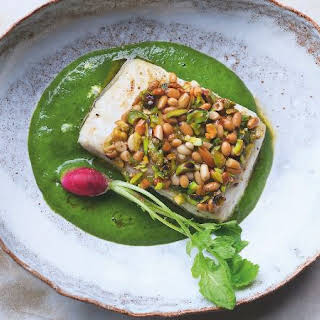 Yotam Ottolenghi's Pistachio and Pine Nut-Crusted Halibut.