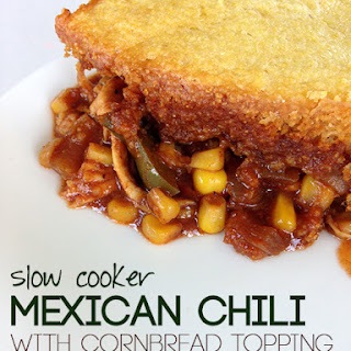 Slow Cooker Mexican Chili with Cornbread Topping.