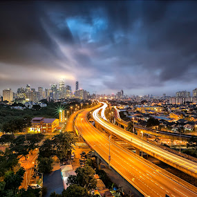 Storm City by Gary Kuen - City,  Street & Park  Night ( special clouds, leading lines, blue hour, malaysia, night, kuala lumpur, city )