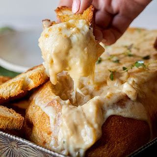 Creamy French Onion Soup Dip in a Bread Bowl.