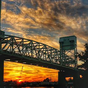 Bridge at sunset by Debra Graham - Buildings & Architecture Bridges & Suspended Structures ( bridge at sunset,  )
