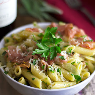 Penne Pasta in Sage Butter with Prosciutto.