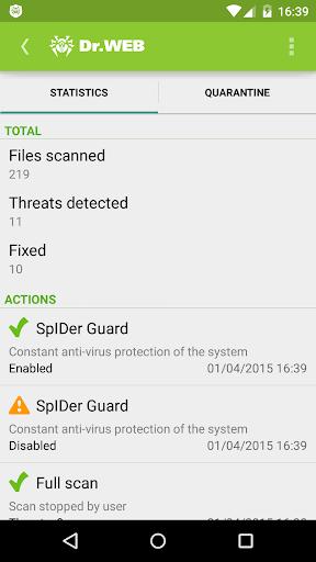 Anti-virus Dr.Web Light screenshot 7