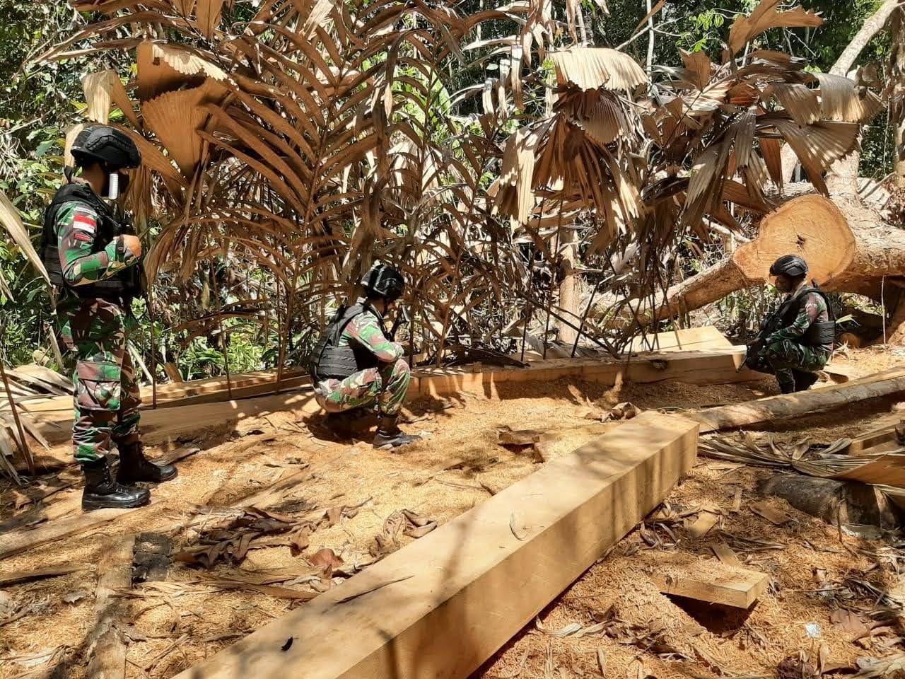 Satgas Pamtas Yonif 642 Berhasil Mengamankan Kayu Olahan Hasil Illegal Logging