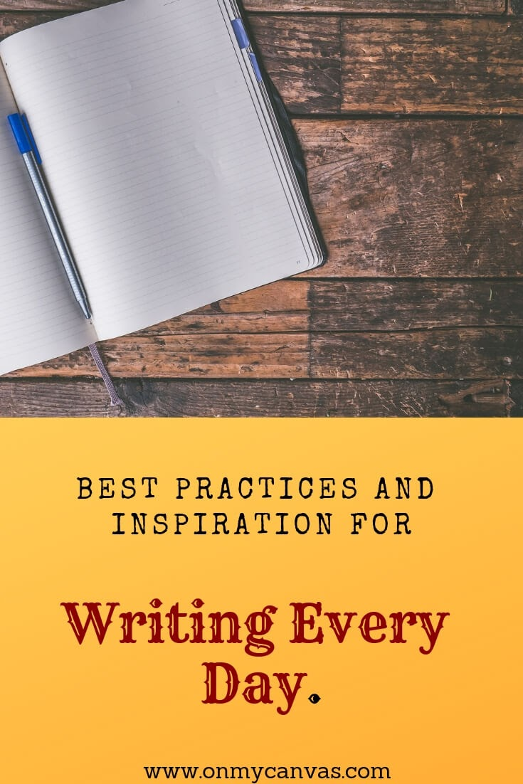 a notebook and pen image to show how to write every day pinterest image