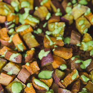 Turmeric Roasted Sweet Potatoes With Tahini Parsley Sauce