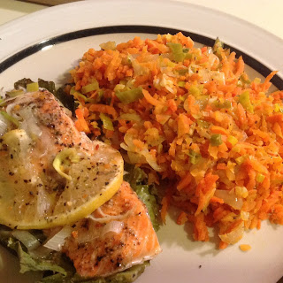 "Baked Salmon with Carrot ""Rice"""