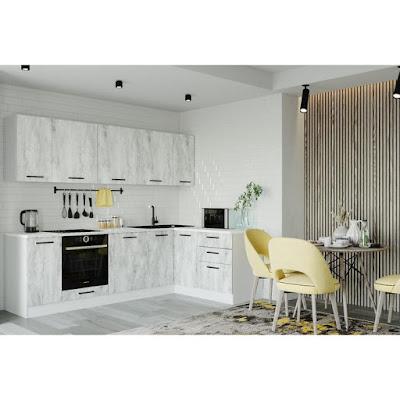 Кухонный гарнитур Пайн Угловая 2616х1616 Белый/Мрамор Марквина белый/ Пайн