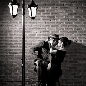 Nightly romance by Marie-Jose Hains - People Couples ( sexy, black and white, woman, night, couple, lamp post, romance, man, sensual )