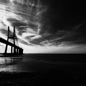 bad weather in the distance by Florindo Silva - Black & White Landscapes ( bridge )