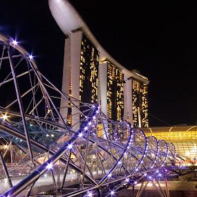 Marina Bay Sands by Wah Yuen Lau - Travel Locations Landmarks ( pwclandmarks, mbs, marina bay sands, night, bridge, singapore,  )
