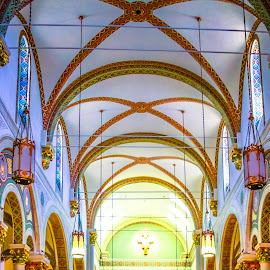 Cathedral by Jennifer  Loper  - Buildings & Architecture Places of Worship ( ceiling, santa fe, church, cross, new mexico, loper, cathedral, arches )