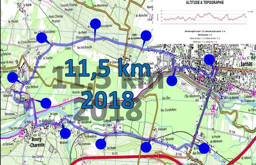 Topo de la course relevée par L'Arche en Charente au marathon du cognac 2018.