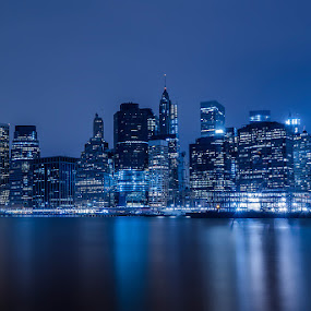 by Hoover Tung - City,  Street & Park  Night ( water, famous, building, skyline, harbor, park, america, skyscrapers, twilight, manhattan, travel, scenic, cityscape, nyc, architecture, dusk, usa, urban, sky, skyscraper, sunset, pier, night, bridge, waterfront, evening, brooklyn, river )