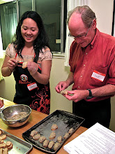 Photo: Janet and Chuck working on the shrimp-and-crab toasts