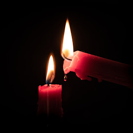share the light by John Holmes - Abstract Fire & Fireworks ( red, sgaring, black background, light, night, fire, candles, two )