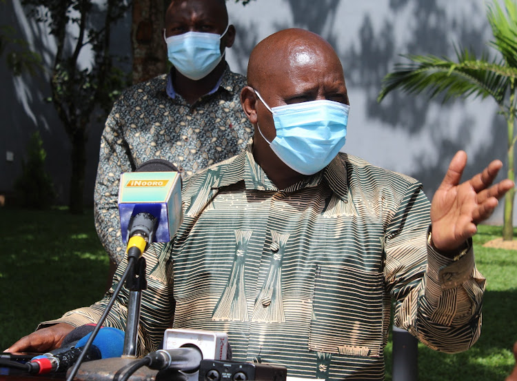 Nyeri Governor Mutahi Kahiga briefs the media at his residence in Nyeri on Friday