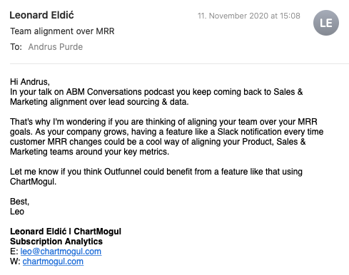 Chartmogul cold emailing pitch