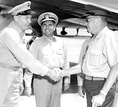 Photo: LT Col William Crowe, Chase Field Training Officer and CDR Frank Green, Chase Field XO, welcome General Randolph McC Tate upon his arrival at Chase