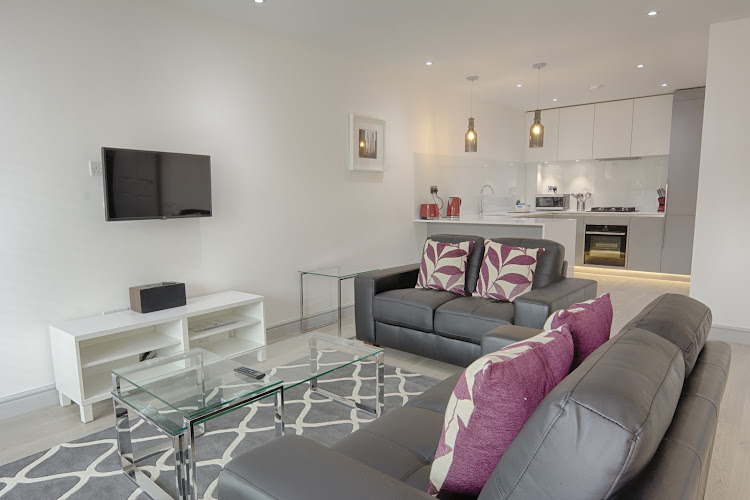 Spacious living area at La Roka serviced apartments, East London