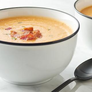Creamy Sweet Potato, Apple and Bacon Soup.