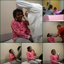 Photo: a visit to the doctor after complaints of ear pain. verdict? an ear infection. The throat swab to test for strep took two people to make happen! Someone was not a happy camper.