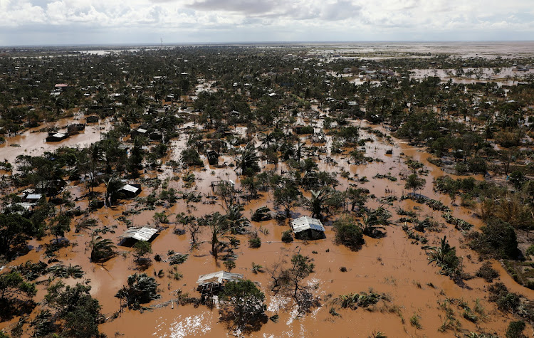 Flooded homes are seen after Cyclone Idai in Buzi district outside Beira, Mozambique, March 21, 2019.