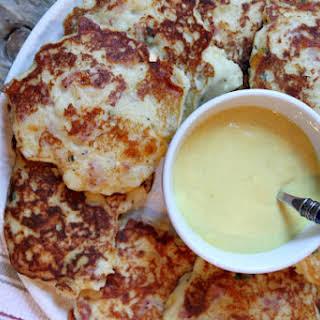 Ham and Cheese Potato Pancakes with Honey Mustard Sauce.